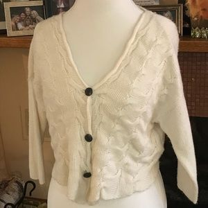 Free People Sparkle Buttons Light Weave Shrug
